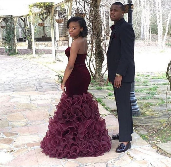 Velvet Burgundy Prom Dresses,Mermaid Prom Dress,Evening Dress