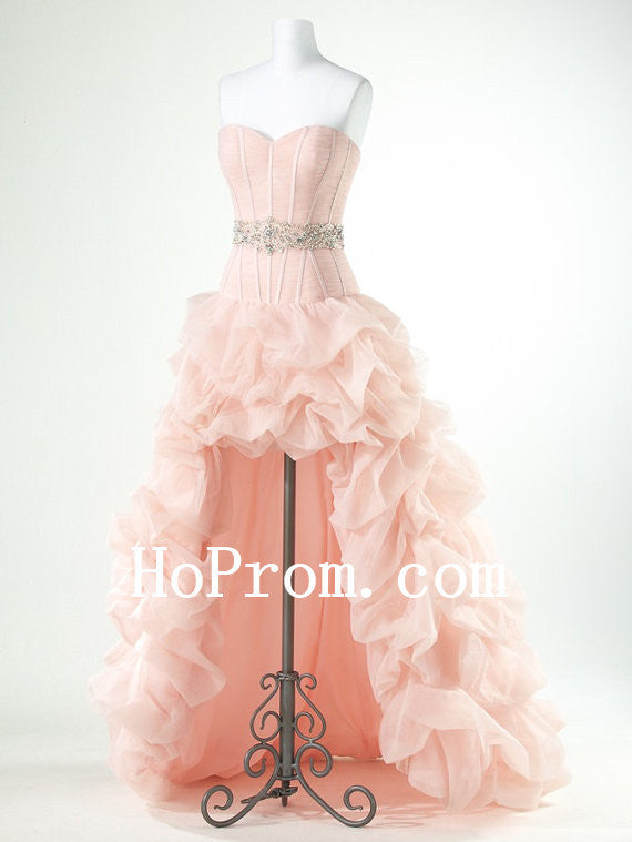 Ruffle Pink Prom Dress,High Low Prom Dresses,Evening Dress