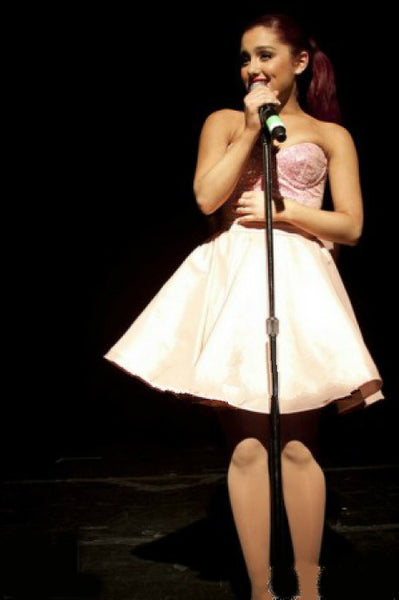 Pink Ariana Grande Short Bowknot Strapless Prom Celebrity Evening Dress Irving Plaza Performance Sweet Sixteen Dress