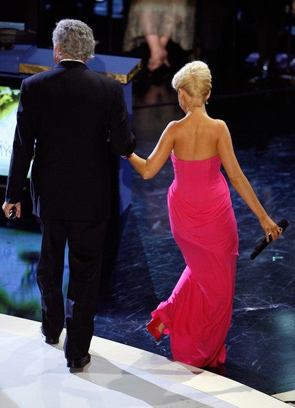 Rose Pink Christina Aguilera Strapless Sweetheart Prom Celebrity Evening Dress 59th Annual Emmy Awards Show Fuchsia