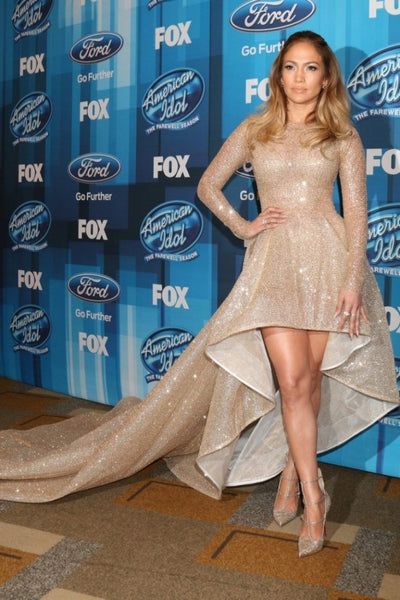 Gold Jennifer Lopez (J.Lo) Sparkly Sequin high Low Dress Long Sleeves Prom Celebrity Dress American Idol Finale