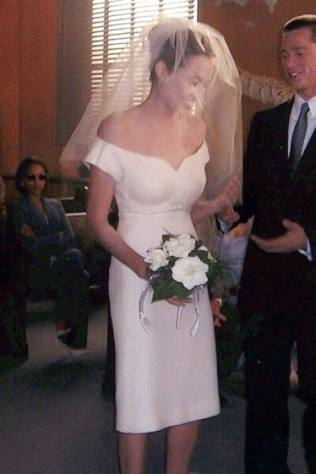 White Angelina Jolie Cup Sleeves Tea Length Wedding Dress Celebrity Bridal Dress For Sale