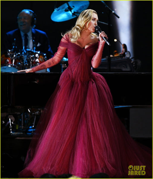 Burgundy Miley Cyrus Off The Shoulder Ruched Dress Tulle Prom Celebrity Evening Dress Grammys Ball Gown Online