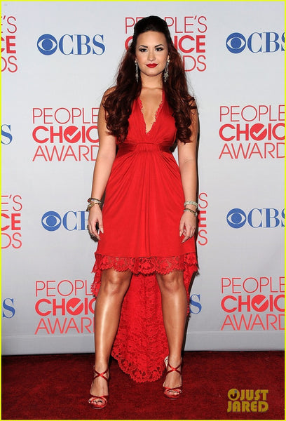 Red Demi Lovato V neck High Low Dress Lace Trim Prom Celebrity Formal Dress People's Choice Awards