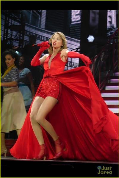Red Taylor Swift V Neck Stain Dress Sleeveless Prom Red Celebrity Dress Red Tour