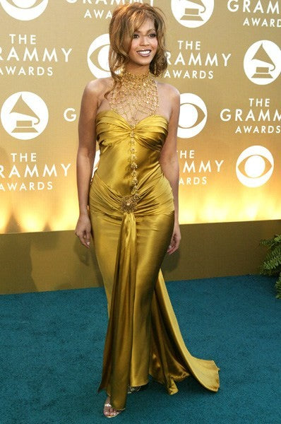 Gold Beyonce Satin Strapless Dress Open Back Prom Red Carpet Dress Grammy Award