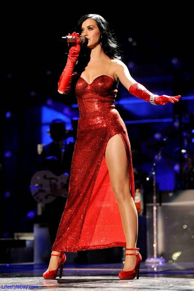 Red Katy Perry Sweetheart High thigh Split Dress Sequin Prom Red Carpet Formal Dress VH1 Divas Salute the Troops