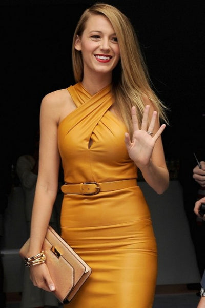 Yellow Blake Lively Criss Cross Halter Dress Short Prom Celebrity Formal Evening Dress Spring Show