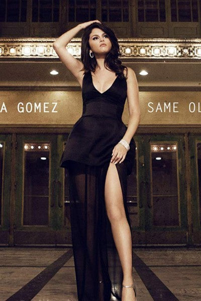 Black Selena Gomez V Neck Slit Satin Dress Classic Prom Celebrity Dress Same Old Love Video