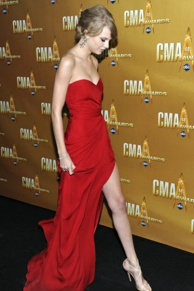Red Taylor Swift Strapless Sexy Dress Sleek Slit Prom Celebrity Prom Dress CMA