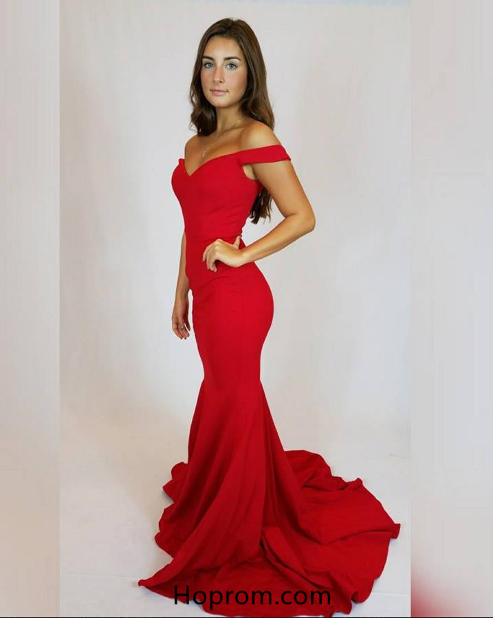 6a5ea12101a8 Off Shoulder Red Sweetheart Prom Dress with Sweep Train – Hoprom