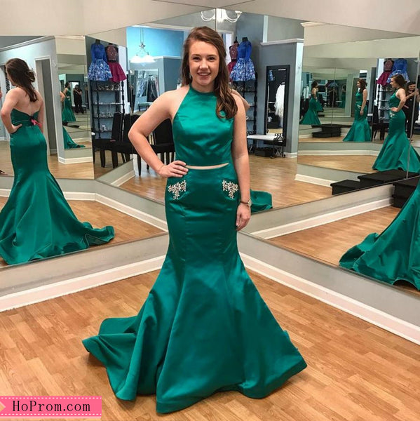 0461a61880 Two Piece Halter Mermaid Green Prom Dress High Neckline with Studded Pockets