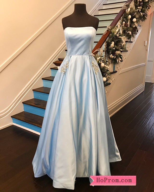Strapless Satin Formal Ball Gowns Prom Dress Embellished Pockets ...