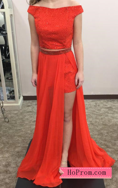 6ed912129e Copy of Off Shoulder Cap Sleeves Red Two Piece Prom Dress Shorts Long  Overlay High Side