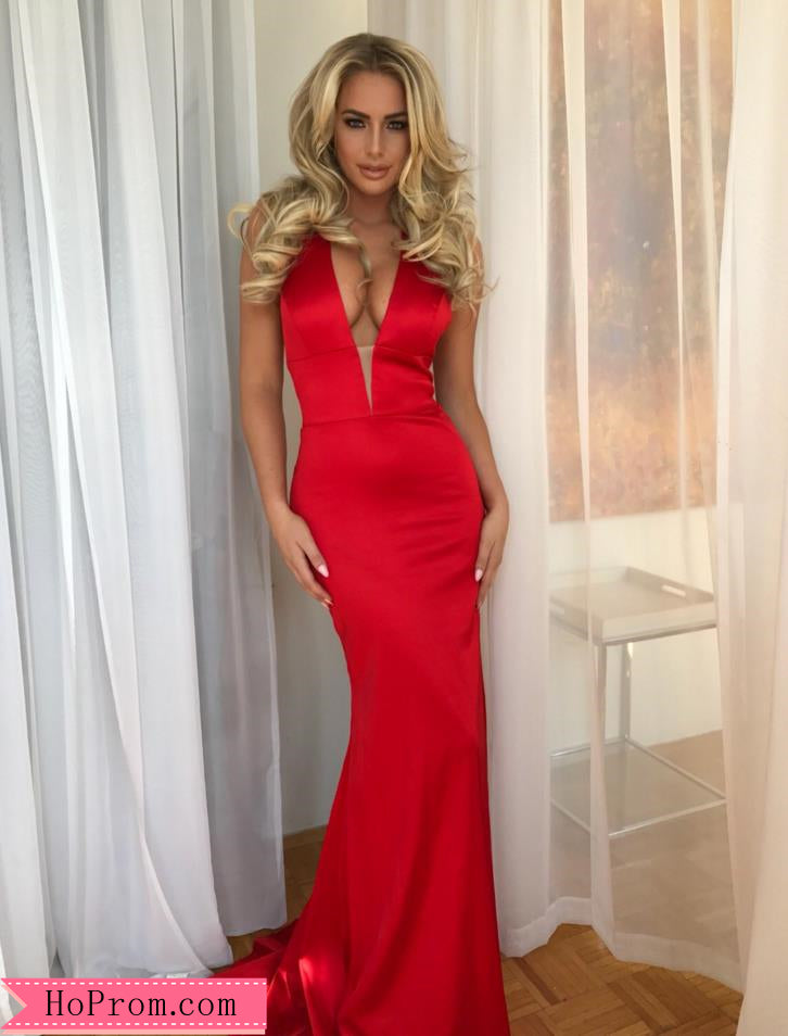 Stretch Plunge Halter Neckline Red Prom Dress Pageant Dresses Open ...