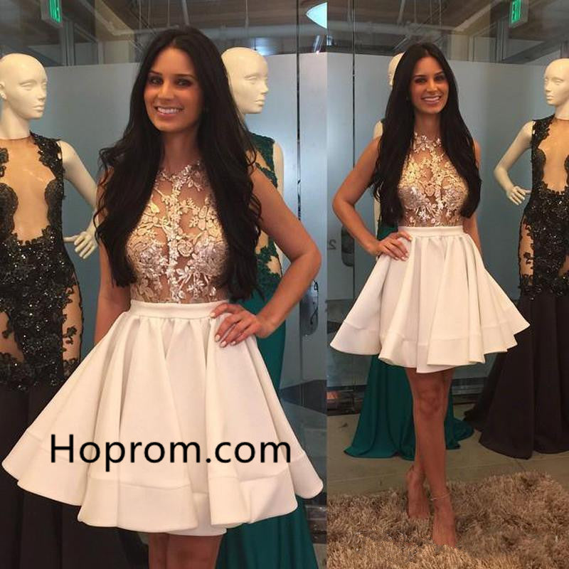 Puffy-Skirt Appliques Lace High-Neck Mini Homecoming Dresses