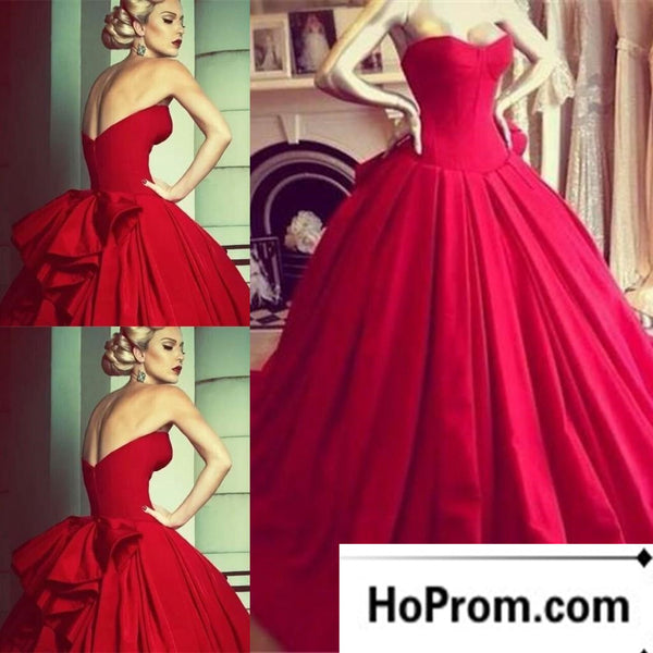 Sweetheart A-Line Red Long  Prom Dress Evening Dresses