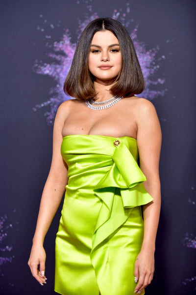 Green Selena Gomez Mini Asymmetrical Off The Shoulder Dress Party Prom Celebrity Dress American Music Awards