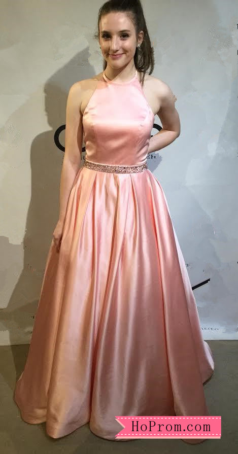 Halter Neckline Open Back Pink Prom Dress Gown Beaded Waist Band ...