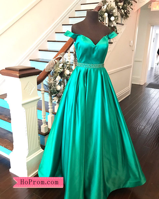 Sweetheart Neckline Off the Shoulder Prom Dresses Pageant Dresses Cap Sleeves with Beaded Waist Band