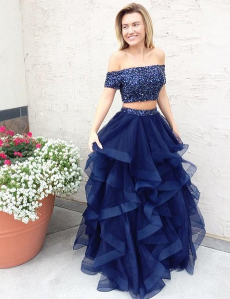 d4f1d07e80 Off Shoulder Cap Sleeve Navy Blue Two Piece Prom Dresses with Multi Layered  Tulle Skirt