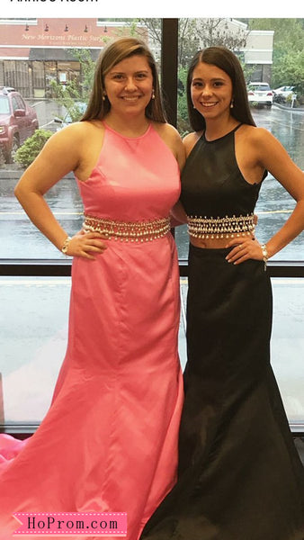 b65de8c6bcd81 Mermaid Halter Two Piece Pink Prom Dresses Pageant Dress Gown Evening Gown  Pearls Beads