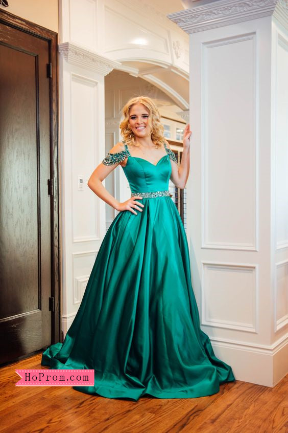 12e75bbacea8 Satin Green Ballgown Off Shoulder Prom Dress Beaded Straps Evening Dre –  Hoprom