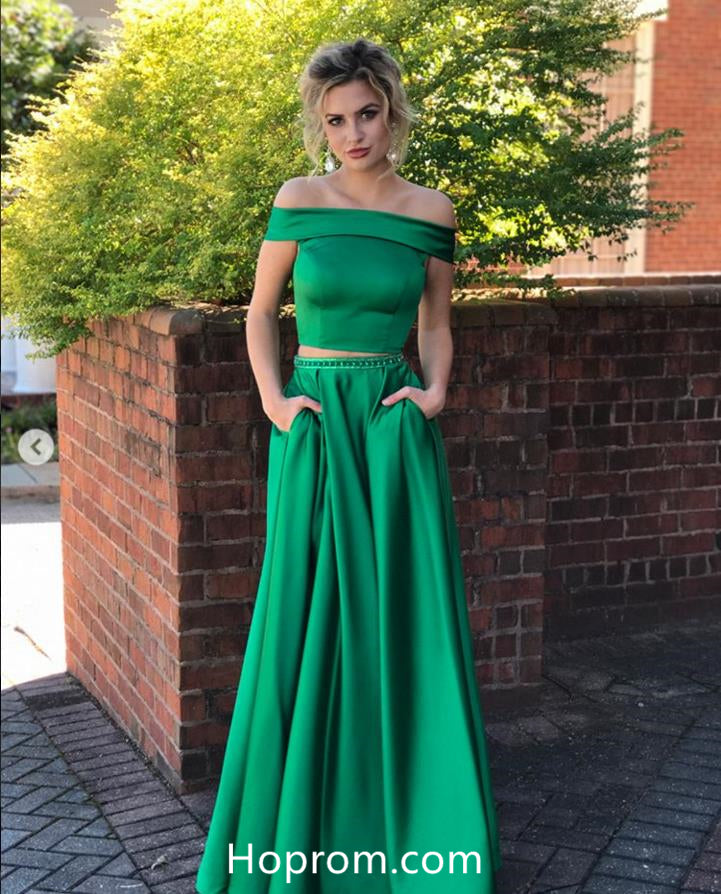 21225be7d865 Green Off Shoulder Two Piece Prom Dresses – Hoprom