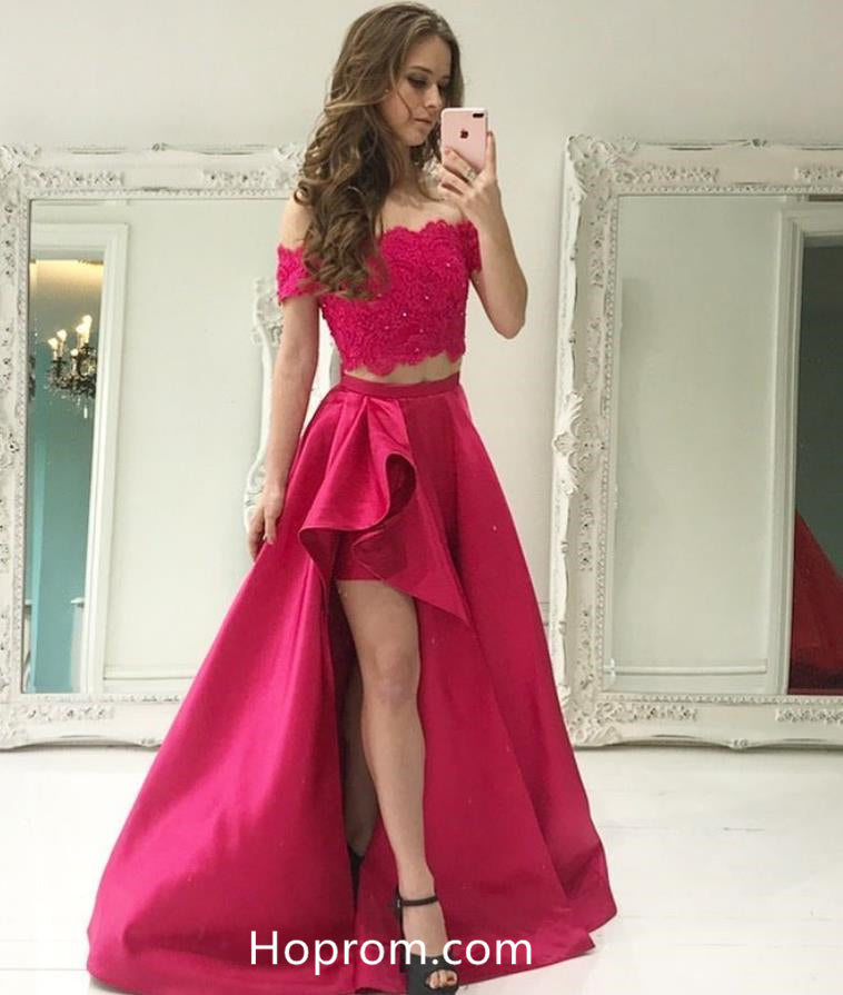 89107083ca Two Piece Off Shoulder Lace Beaded Prom Dress with Pockets – Hoprom