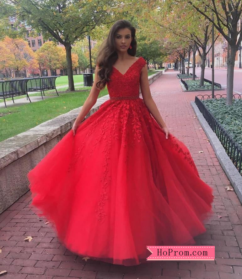 A Line Cap Sleeve Red Applique Cheap Prom Dress Online – Hoprom