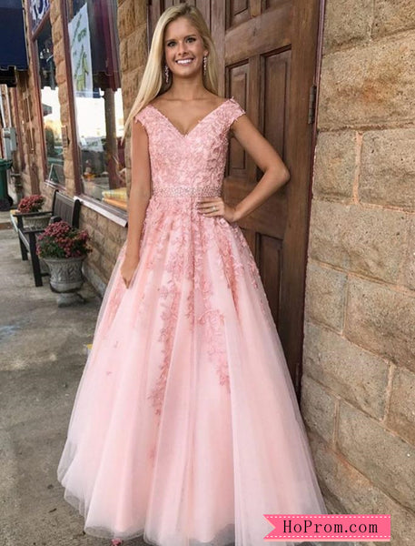 A Line Cap Sleeved Pink Applique Prom Dress for Cheap Online