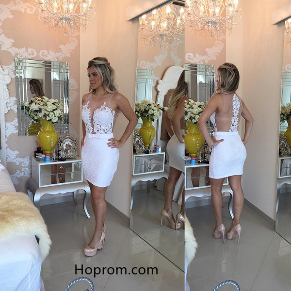 Sexy Straps Bodycon Lace Pearls Homecoming Dress