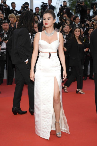 White Selena Gomez Bustier Two piece Dress Slit Prom Red Carpet Celebrity Formal Dress Cannes