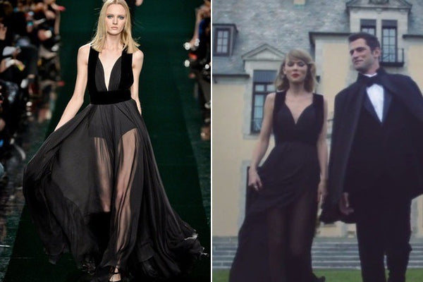Black Taylor Swift Chiffon V Neck Sexy Dress Sleek Prom Celebrity Dress Blank Space
