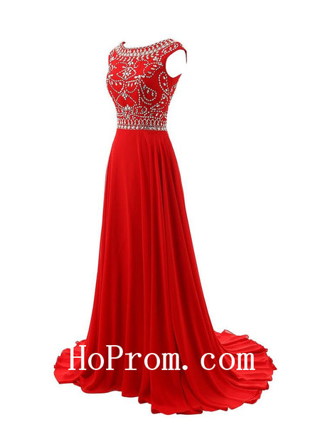 A-Line Prom Dresses,Red Beading Prom Dress,Evening Dress