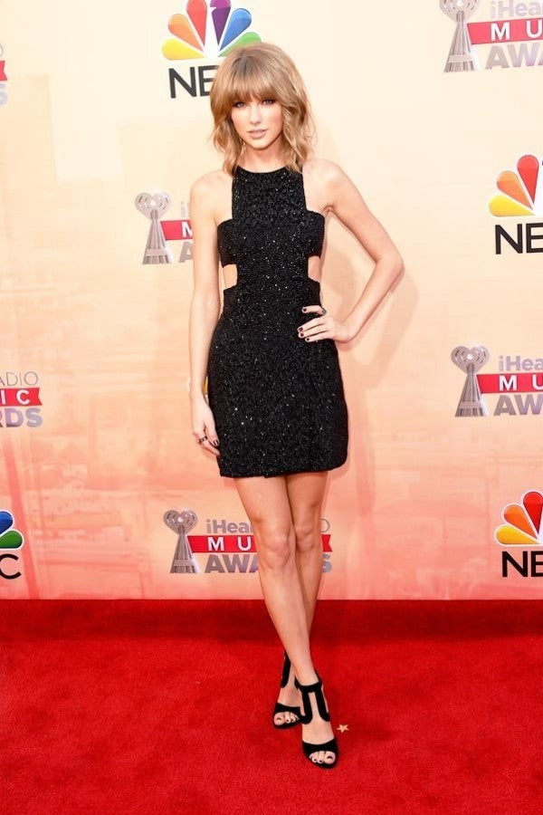 Black Taylor Swift Sheath Sparkly Little Black Dress Prom Celebrity Evening Dress IHeartRadio Music Awards