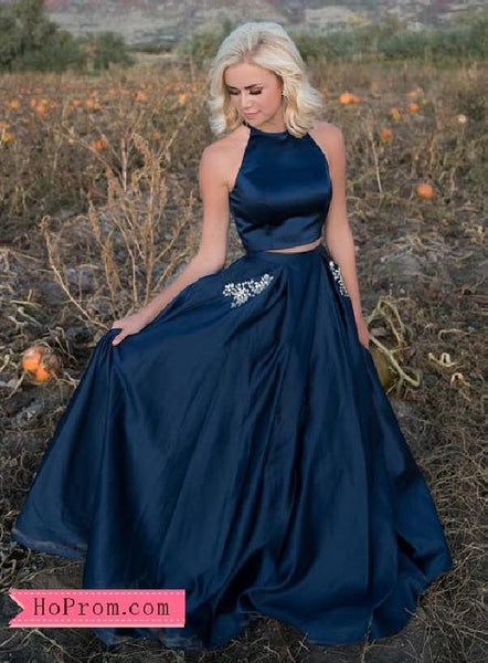 Two Piece Satin Halter Navy Blue Prom Dresses High Neckline Beaded Pockets