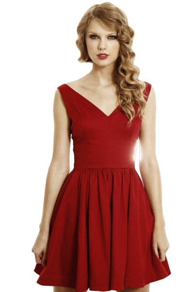 Red Taylor Swift V neck Hot Dress Short Mini Prom Celebrity Party Evening Dress For Sale