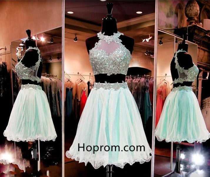 Short Appliques Two-Pieces Sleeveless Halter Homecoming Dress