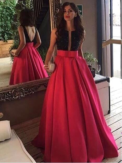 Backless Red And Black Long Prom Dresses Evening Dress