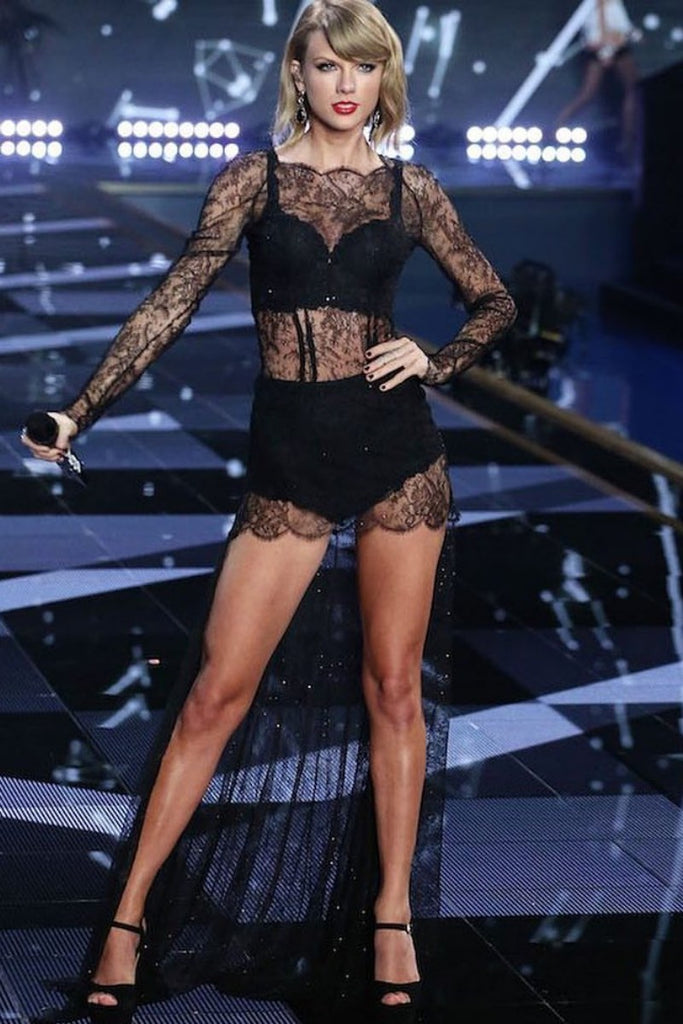 Black Taylor Swift Sheath Lace Sexy Dress Long Sleeves Prom Celebrity Formal Dress Victoria Secret