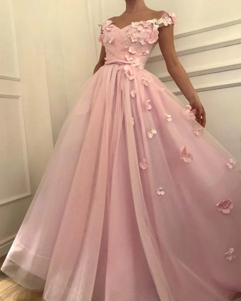 3D Flowers Pink Off Shoulder Prom Dresses A Line Evening Dresses