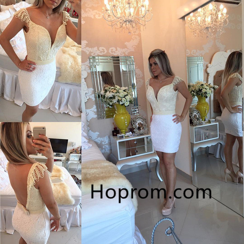 Bodycon Delicate Bow Mini Lace Cap-Sleeve Homecoming Dress