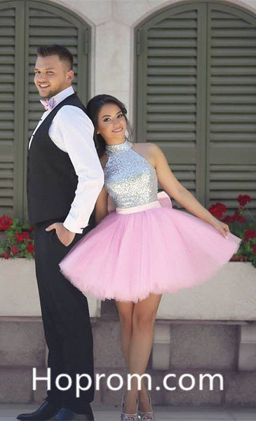 Pink Halter Homecoming Dress, Sequins Tulle Homecoming Dress