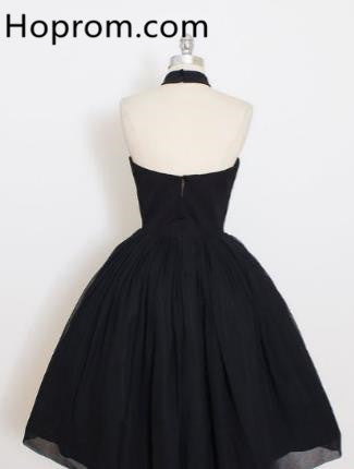 Black Halter Homecoming Dress, Backless Prom Dress