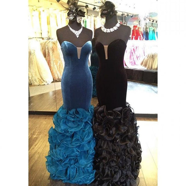 Velvet Black Blue Prom Dresses,Mermaid Prom Dress,Evening Dress