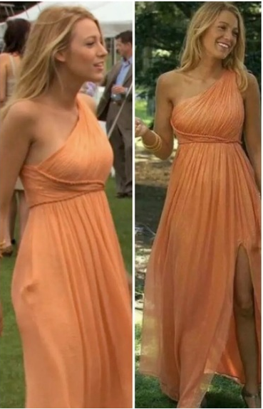 Orange Blake Lively One Shoulder Dress Slit Prom Serena van der Woodsen Dress Gossip Girl