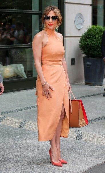 Peach Jennifer Lopez (J.Lo) Casual Empire Waist Dress Halter Party Prom Celebrity Dress