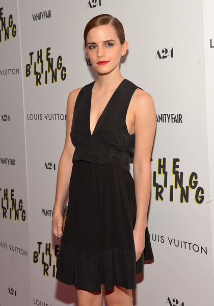 Black Emma Watson Deep V-neck Prom Red Carpet Evening Dress The Bling Ring' NYC Screening