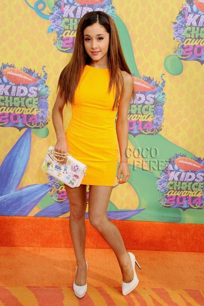 Yellow Ariana Grande Sheath V Back Prom Red Carpet Formal Dress Kids' Choice Awards Short Figure Hugging Party Dress